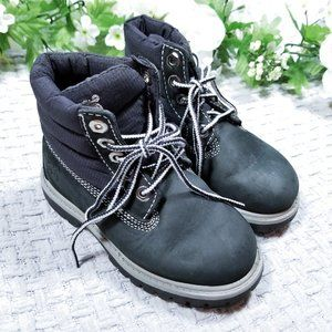 Timberland black leather waterproof toddler boots